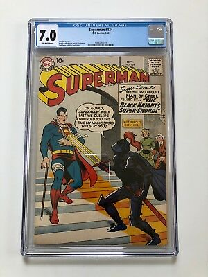 Superman #124 - CGC 7.0 - Great Condition - Off-White Pages (1958)