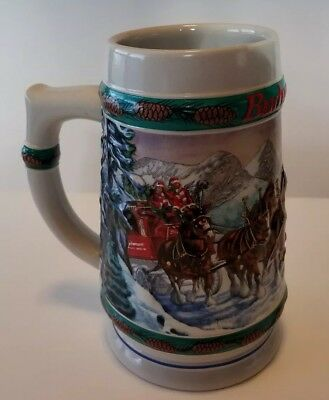 """1993 Budweiser Holiday Stein Clydesdales """"Special Delivery"""" by Nora Koerber"""