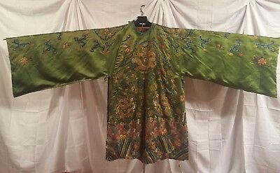 Exquisite Vintage Chinese Embroidered Green Silk Dragon Robe