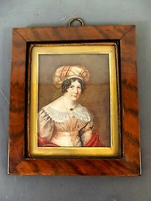 GEORGIAN MINIATURE PORTRAIT IN WOOD FRAME c.1830