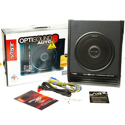 "Vibe Optisound 8 8""Active Underseat Subwoofer Amplified Bass Box inc wiring kit"