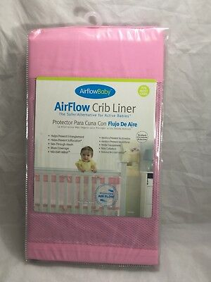 Airflow Baby Mesh Wrap Crib Liner Bumper Fits Most Pink No Gap Wrap NEW 14 Inch