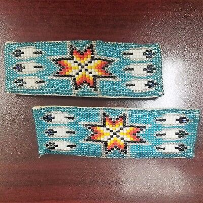 Native American Beaded Barrettes, Set, Six Feather and Sioux Star Design