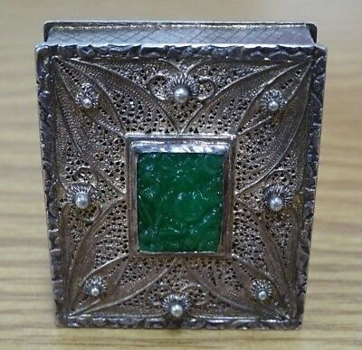 "Vintage Sterling and Jade ""Box"" - 23 grams - NO RESERVE"