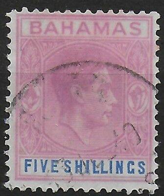 Bahamas SG 156c 5s Dull Mauve & Deep Blue (Ord Paper) S/Filler Used Ref:S7.139