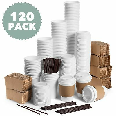 JUMBO Set of 120 Paper Coffee Hot Cups with Travel Lids, Sleeves, and Stirrers