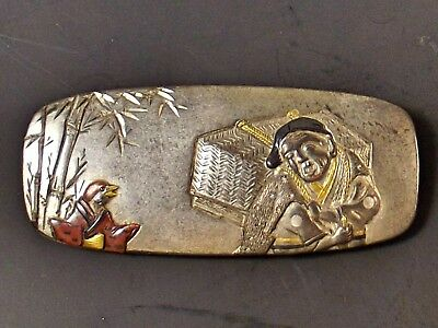 Japanese Meiji Period Mixed Metal Tobacco Pouch Toggle