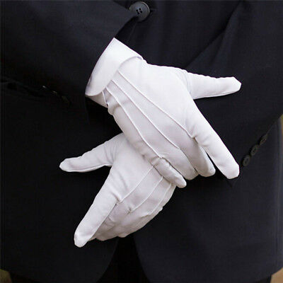 2PCS White Formal Gloves White Honor Guard Parade Santa Women Men Inspection ^H