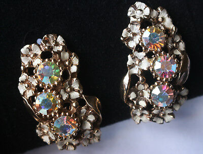 Vintage clip on earrings AB crystal rhinestone golden flowers Circa 60s