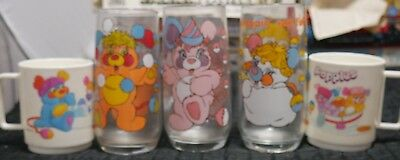 Lot of 5: Popples Glass Cups [1986]
