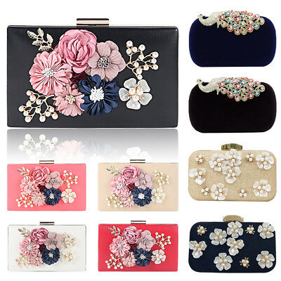 Women Flower Pearl Evening Clutch Bag Wedding Purse Bridal Prom Handbag Party