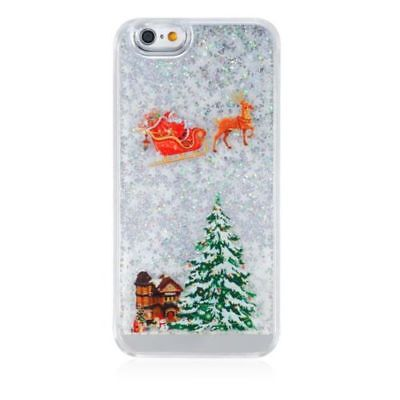 Father Christmas Glitter Bling Liquid Novelty Colourful Phone Case Fits iPhone