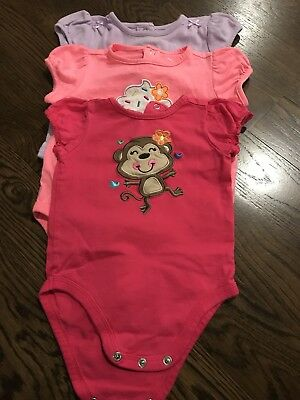 Baby Girl Lot of 3 One-Pieces Short Sleeves 6-9 Months
