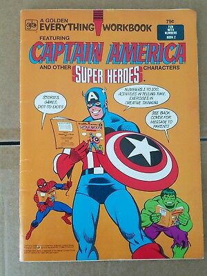 1980 A Golden Everything Workbook FEATURING CAPTAIN AMERICA Fun with Numbers