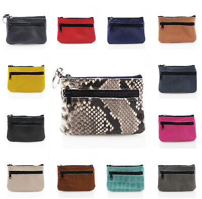 Ladies Real Leather Small Colourful Key Holder Coin Purses W//Keyring Holder 501