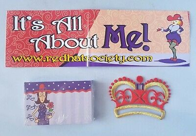 Red Hat Society Ladies Bumper Sticker Crown Patch + 50 Pack Note Cards Lot Gift