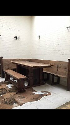 19 Century Church Pew Oak Table And Bench