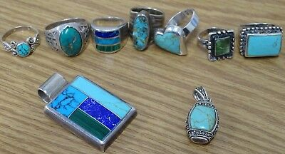 Group Lot of Sterling Turquoise & Onyx Jewelry - 83 Grams - NO RESERVE