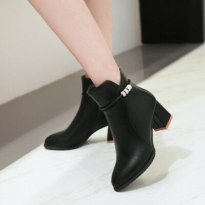266dc27ffe7a5 PLUS SIZE WOMENS Shoes Zipper Block Heels Booties Pointy Toe Ankle Martin  Boots - $38.72 | PicClick