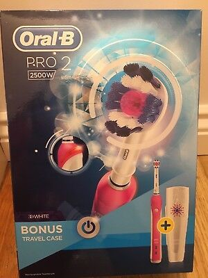 ORAL B PRO 2 2500 Rechargeable Toothbrush pink 3D White Braun