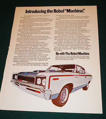 "1970 Rebel ""Machine"" AD by American Motors"