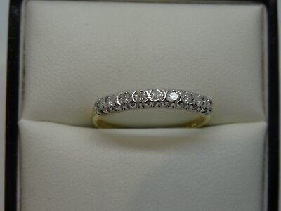 9ct Gold and Brilliant Cut Diamond Half Eternity Ring - Size M1/2