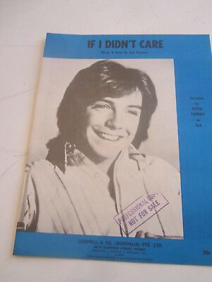 Retro vintage sheet music David Cassidy 'If I didn't care'