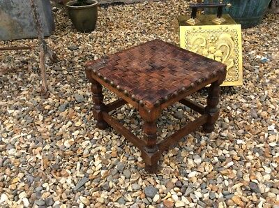 Oak And Leather Arts And Crafts School Stool Footstool