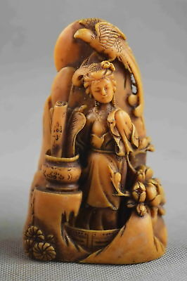 Collectable Handwork Decor Old Shoushan Stone Carve Belle & Phoenix Lucky Statue