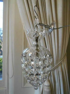 Beautiful Vintage Domed Bag Lead Crystal Chandelier