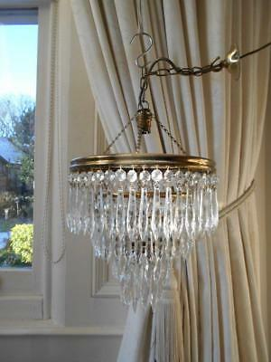 Vintage 4 Tier Brass & Crystal Waterfall Chandelier *1 Of 2*