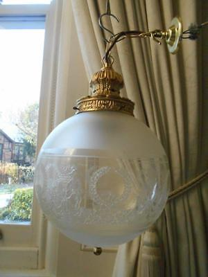 Lovely Large Vintage Glass Globe Hall Light