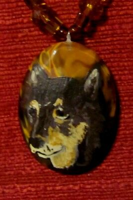Shiba Inu hand painted on Frie Quartz oval pendant/bead/necklace