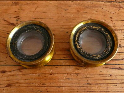 Antique Stereoscopic Lenses in Lacquered Brass Mounts