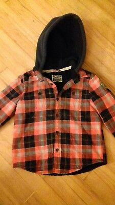 Fat Face boys shirt, hooded, fleece lined, age 6-7 years