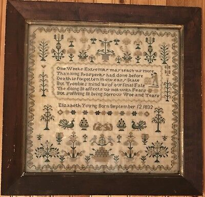 Antique 1830's Embroidery Sampler