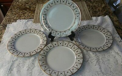 "Set (4) Royal Gallery GOLD BUFFET 9-3/8"" Dinner / Luncheon Plates GOLD NET"