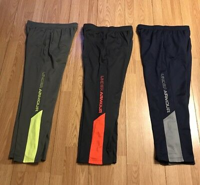 3pc LOT Boys Under Armour Athletic Pants Fleece Storm Pockets YLG Youth Large