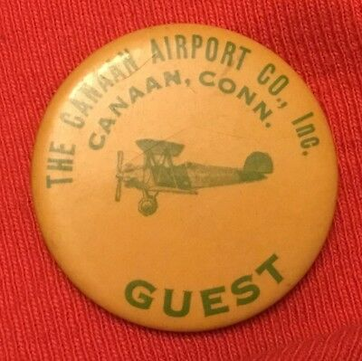 1930's Aviation Biplane Canaan Connecticut Airport Guest Button Pin No Reserve