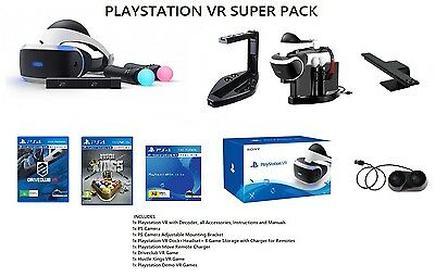 Playstation VR Pack+2 Games+ 2 PS Move Controllers + PS Camera+ VR Stand + More