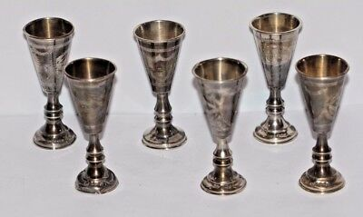 A Set Of 6 Britsh Sterling Silver Kiddish Cups Hallmarked Jr. B/ham 1917 Judaica