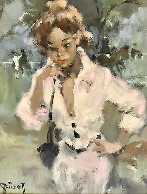 Grisot Oil Painting French impressionist 1950 1960 glamour Horse racing Paris