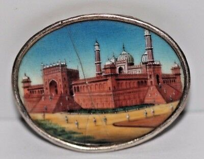 Fine Quality Antique 19Th C Indian Hand Painted Miniature Painting  Silver Frame
