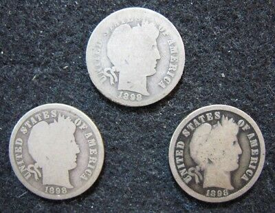 1898 P,O,S Barber Dimes Silver Circulated Set of all 3 Mints