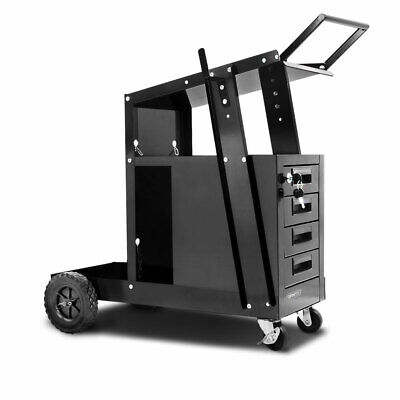 4 Drawer Welding Trolley Tool Storage Lockable with Two Cylinder Chains Black