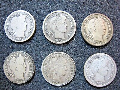 Barber Dime Silver Lot of 6 Coins Circulated Nicer Conditions