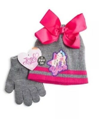 New JoJo Siwa Nickelodeon Hat with Bow and Mitten/Glove set Be You!