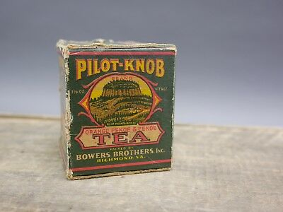 VINTAGE SEALED  1 3/8 oz PILOT KNOB TEA BOX FREE SHIP BOWERS BROS RICHMOND VA