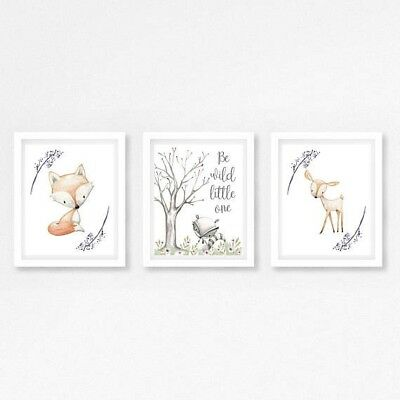 Boho Fox Woodland Nursery Wall Art Print Baby Girl Room Decor Nursery Art Floral