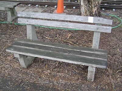 Garden Seat Concrete and Wooden Bench Seat Rustic Garden Ornament  1220 long